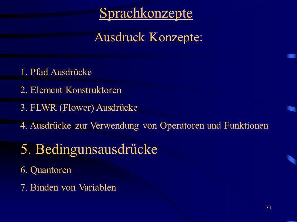 Sprachkonzepte 5. Bedingunsausdrücke Ausdruck Konzepte: