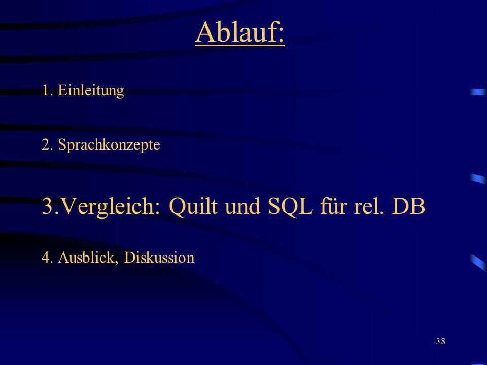 Ablauf: 3.Vergleich: Quilt und SQL für rel. DB 1. Einleitung
