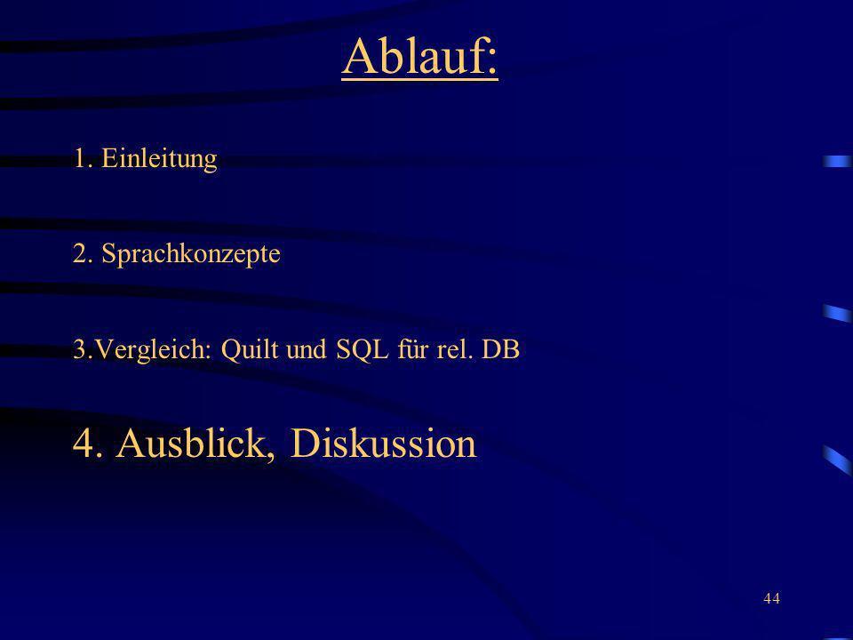 Ablauf: 4. Ausblick, Diskussion 1. Einleitung 2. Sprachkonzepte