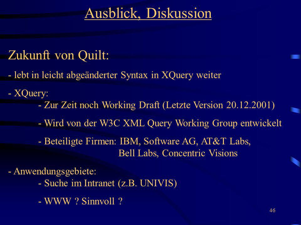 Ausblick, Diskussion Zukunft von Quilt: