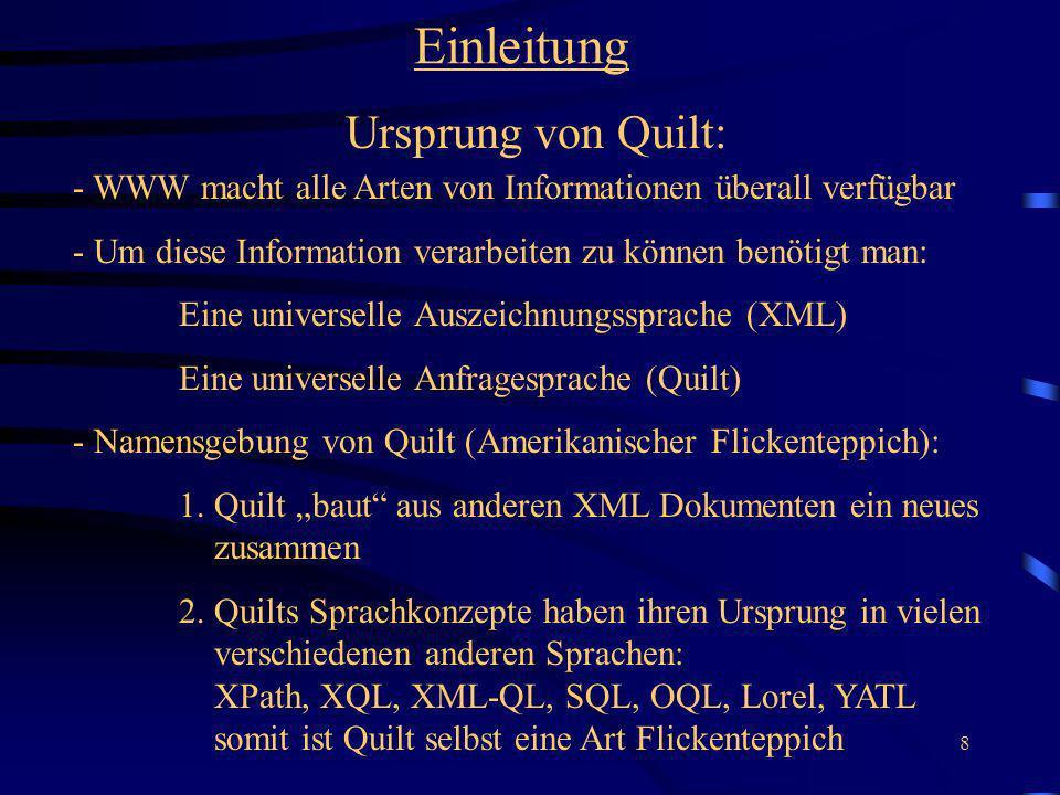 Einleitung Ursprung von Quilt: