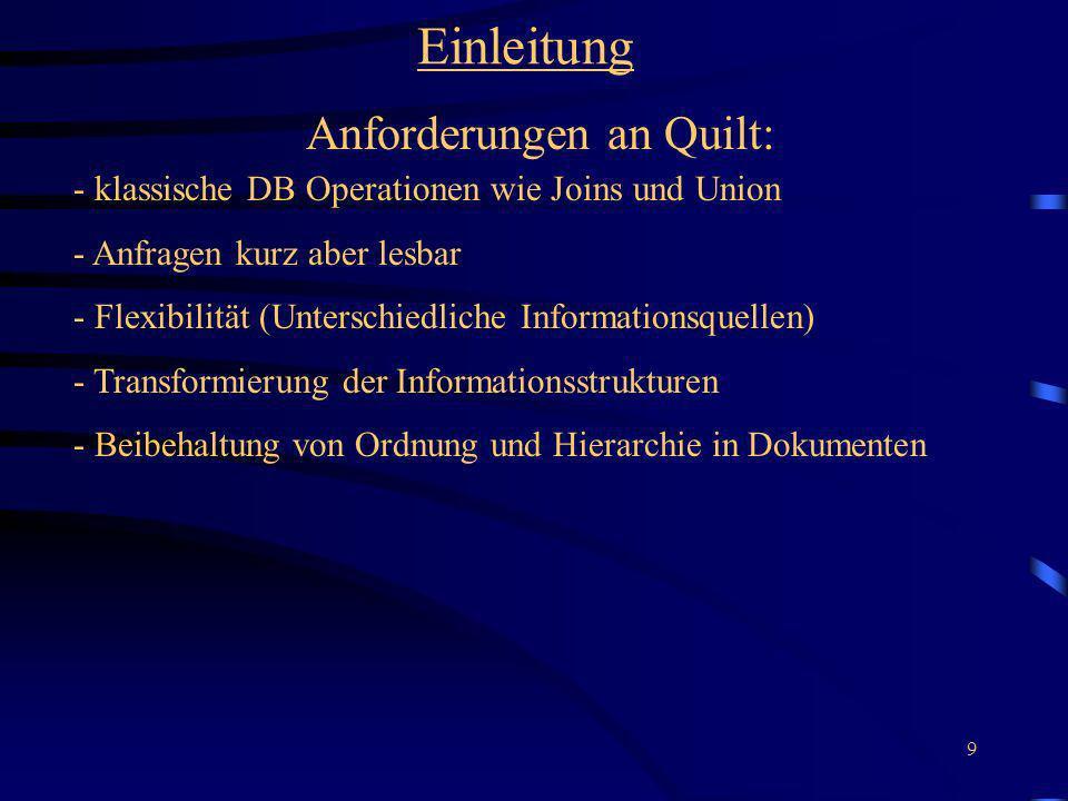Anforderungen an Quilt: