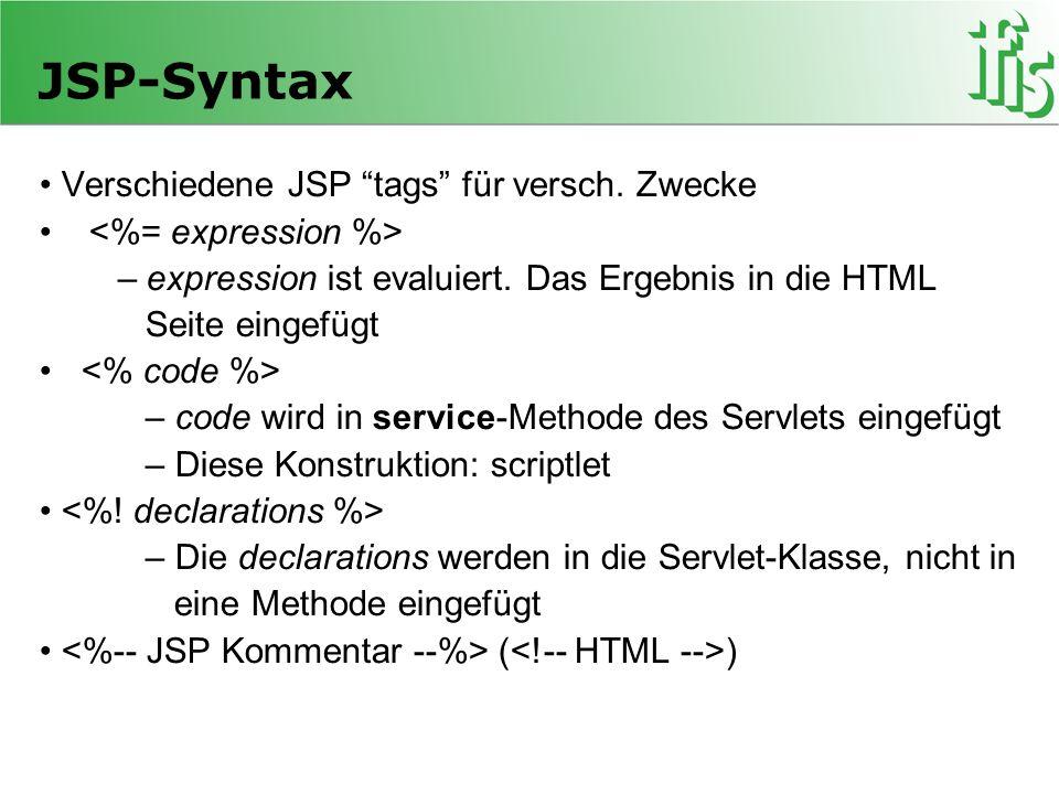 JSP-Syntax • Verschiedene JSP tags für versch. Zwecke