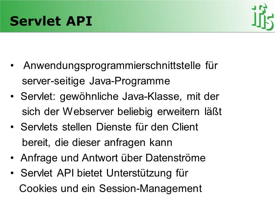 Servlet API Anwendungsprogrammierschnittstelle für