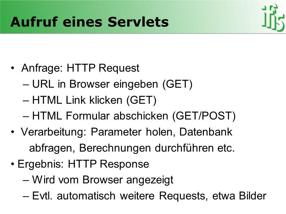 Aufruf eines Servlets Anfrage: HTTP Request