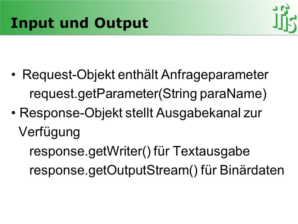 Input und Output Request-Objekt enthält Anfrageparameter