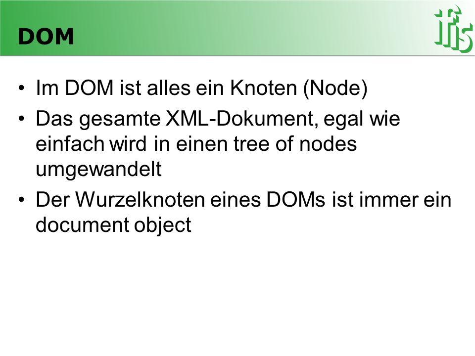 DOM Im DOM ist alles ein Knoten (Node)