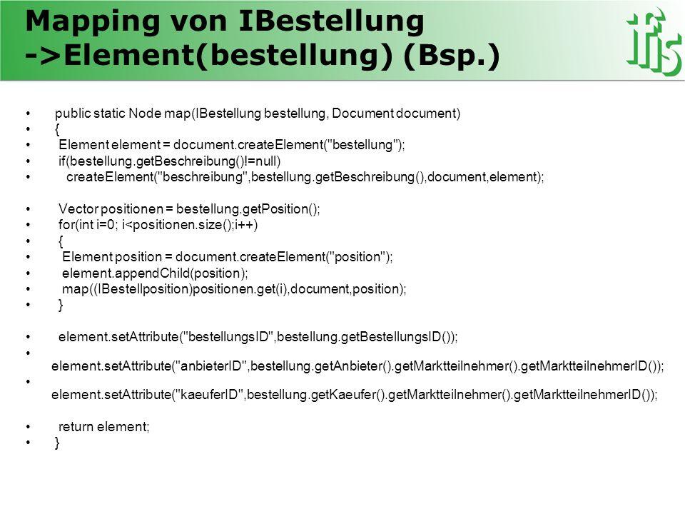 Mapping von IBestellung ->Element(bestellung) (Bsp.)