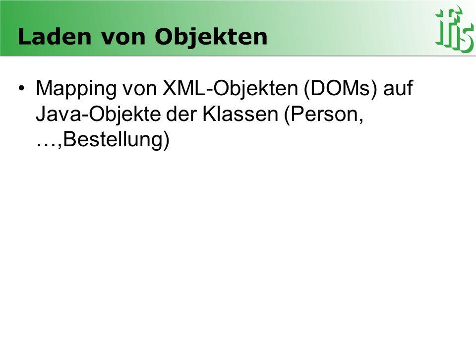 Laden von Objekten Mapping von XML-Objekten (DOMs) auf Java-Objekte der Klassen (Person, …,Bestellung)