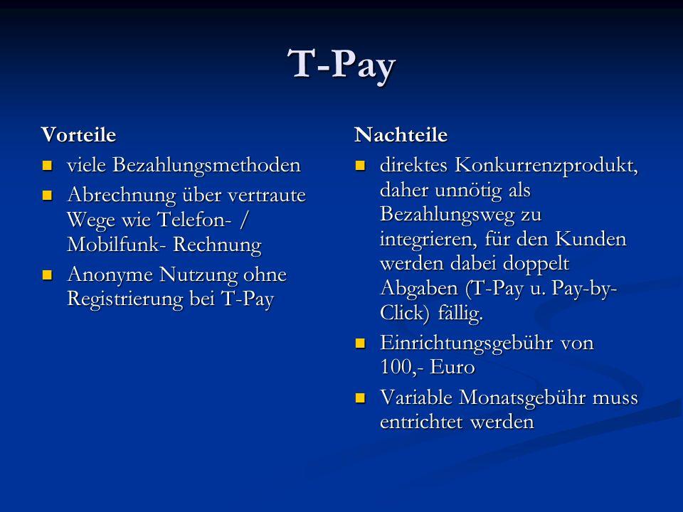 T-Pay Vorteile viele Bezahlungsmethoden