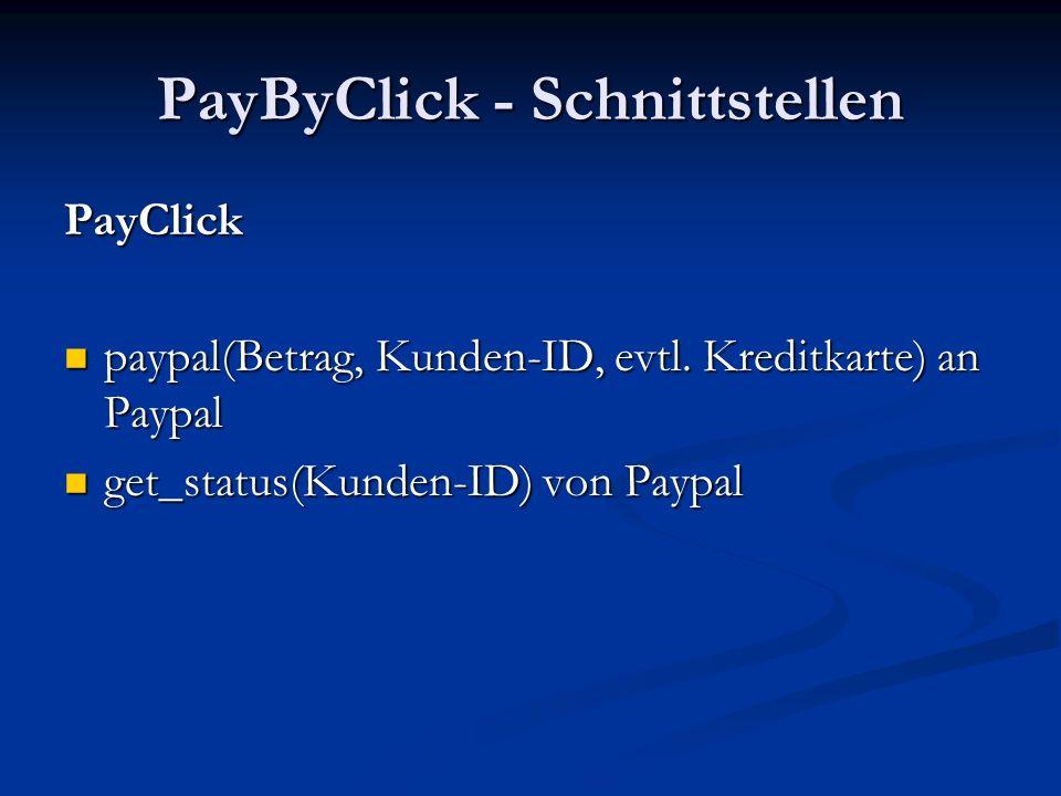 PayByClick - Schnittstellen