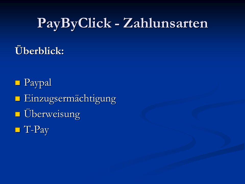 PayByClick - Zahlunsarten