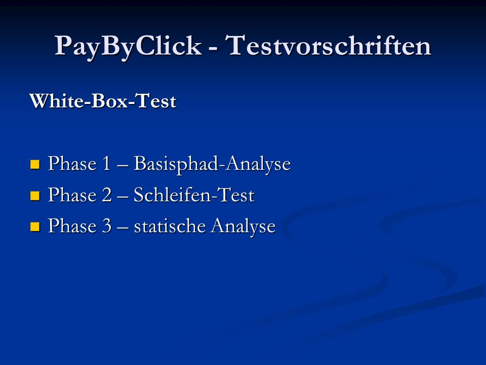 PayByClick - Testvorschriften