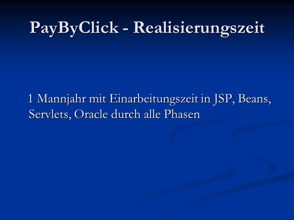 PayByClick - Realisierungszeit