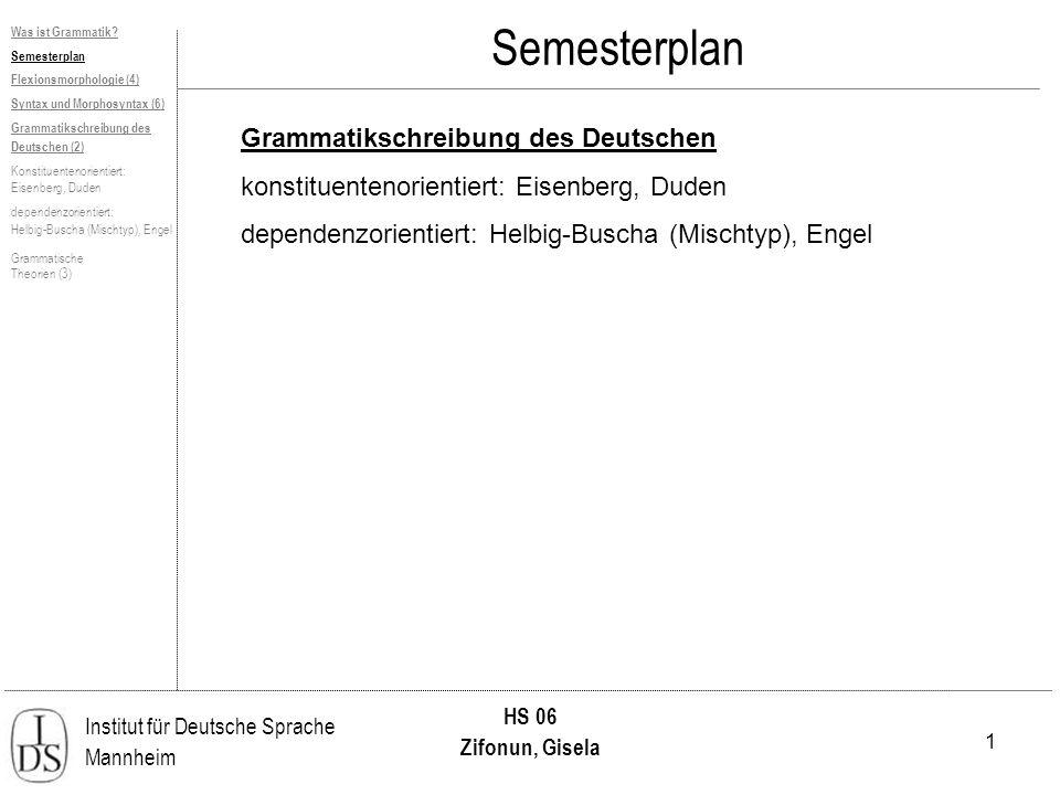 Semesterplan Grammatikschreibung des Deutschen