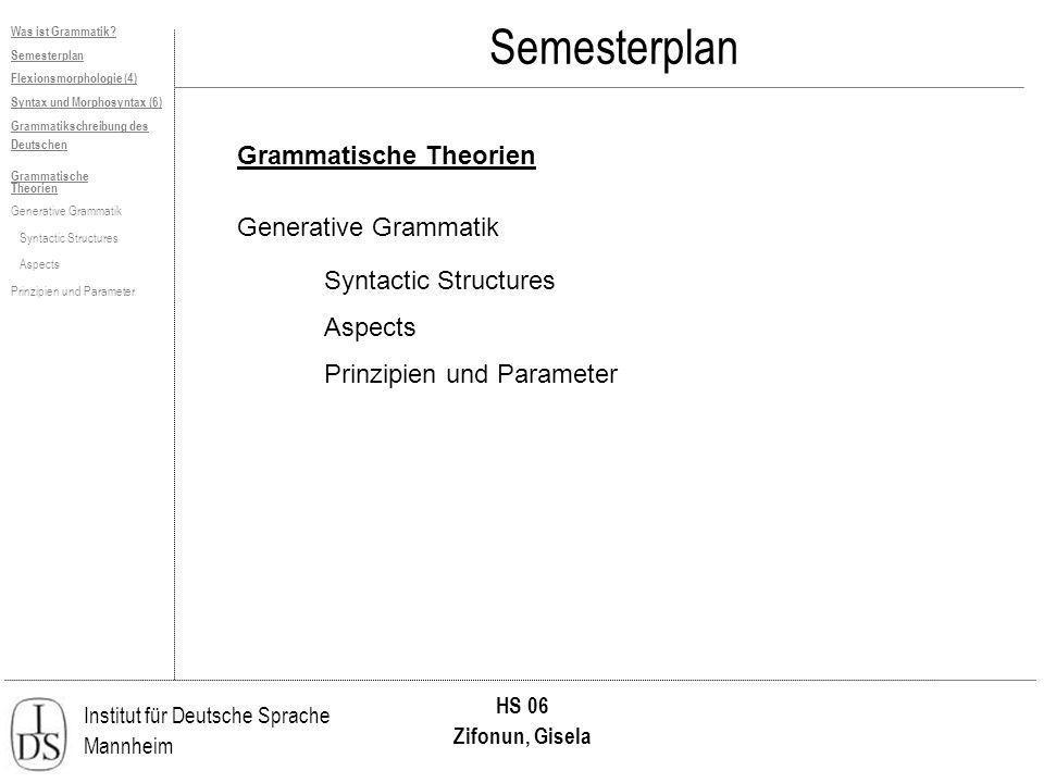 Semesterplan Grammatische Theorien Generative Grammatik