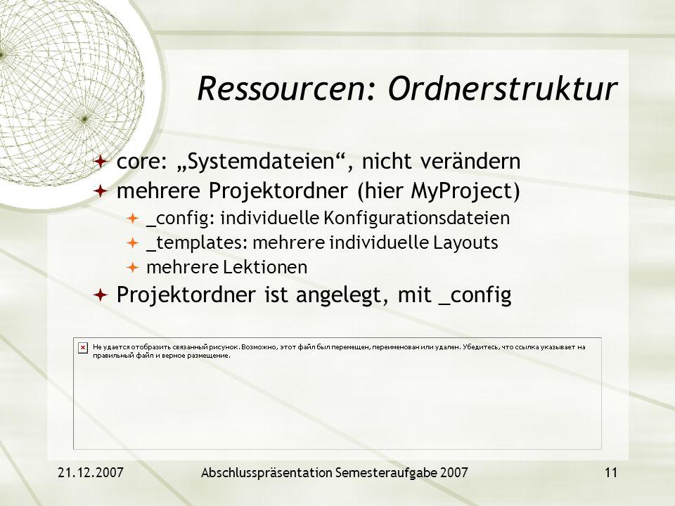 Ressourcen: Ordnerstruktur