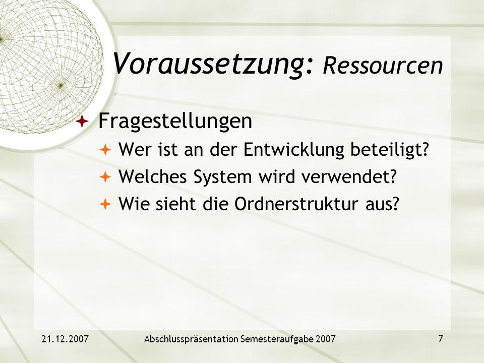 Voraussetzung: Ressourcen