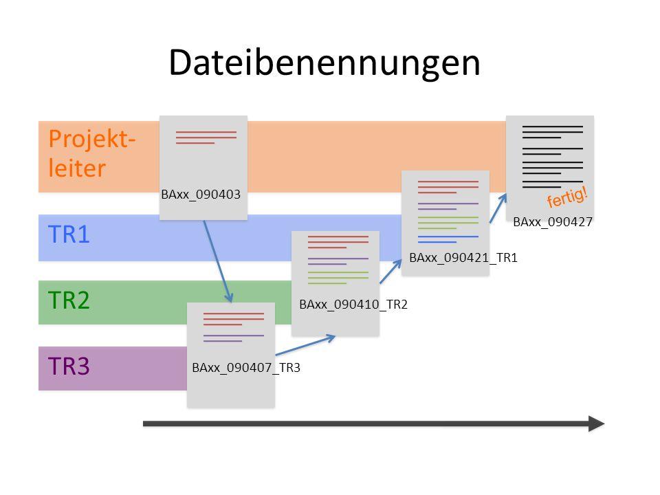 Dateibenennungen Projekt- leiter TR1 TR2 TR3 fertig! BAxx_090403