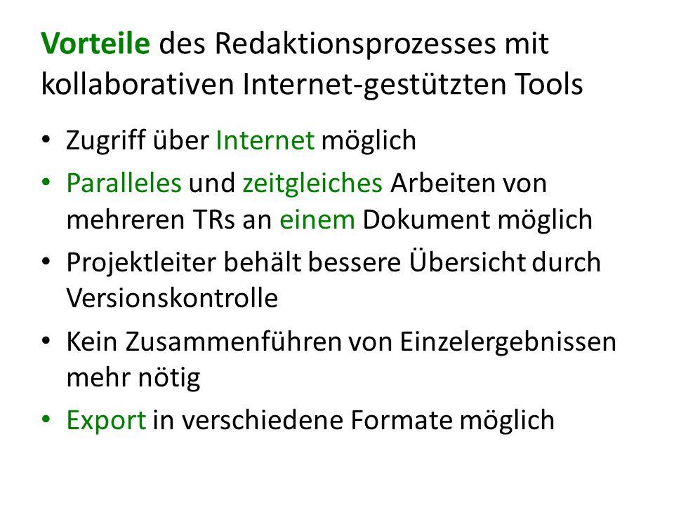 Vorteile des Redaktionsprozesses mit kollaborativen Internet-gestützten Tools