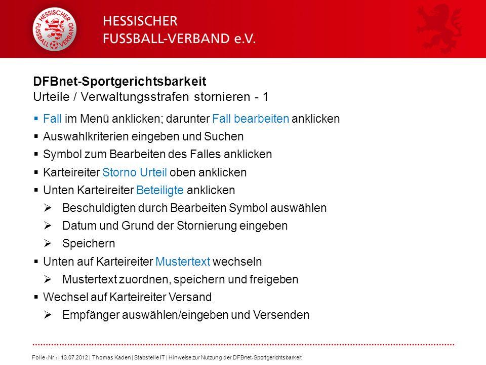 DFBnet-Sportgerichtsbarkeit Urteile / Verwaltungsstrafen stornieren - 1