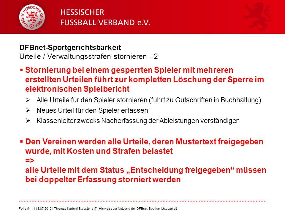 DFBnet-Sportgerichtsbarkeit Urteile / Verwaltungsstrafen stornieren - 2