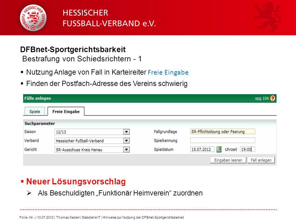 DFBnet-Sportgerichtsbarkeit Bestrafung von Schiedsrichtern - 1