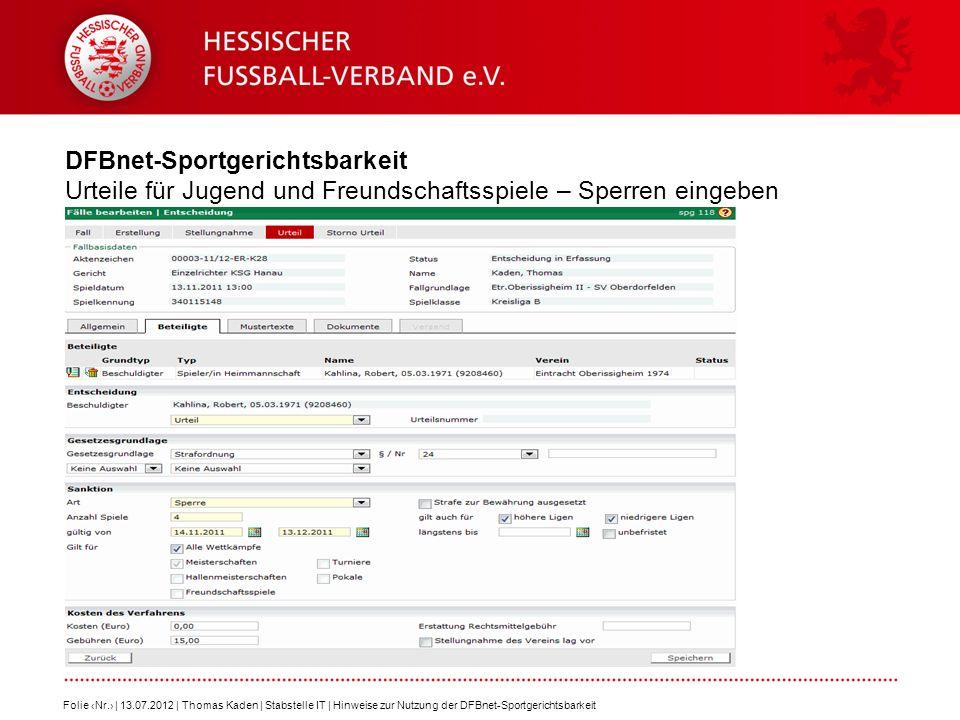 DFBnet-Sportgerichtsbarkeit Urteile für Jugend und Freundschaftsspiele – Sperren eingeben