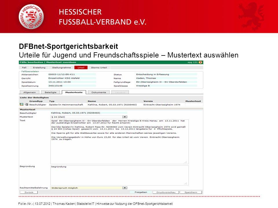 DFBnet-Sportgerichtsbarkeit Urteile für Jugend und Freundschaftsspiele – Mustertext auswählen