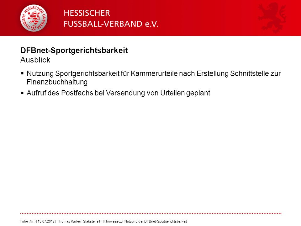 DFBnet-Sportgerichtsbarkeit Ausblick