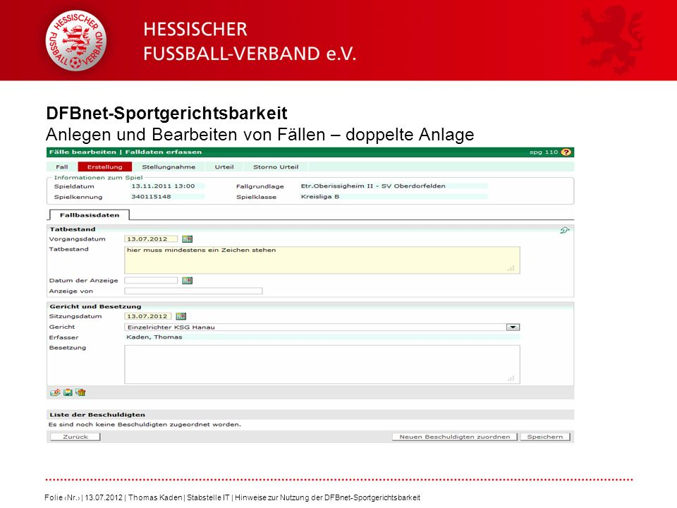 DFBnet-Sportgerichtsbarkeit Anlegen und Bearbeiten von Fällen – doppelte Anlage