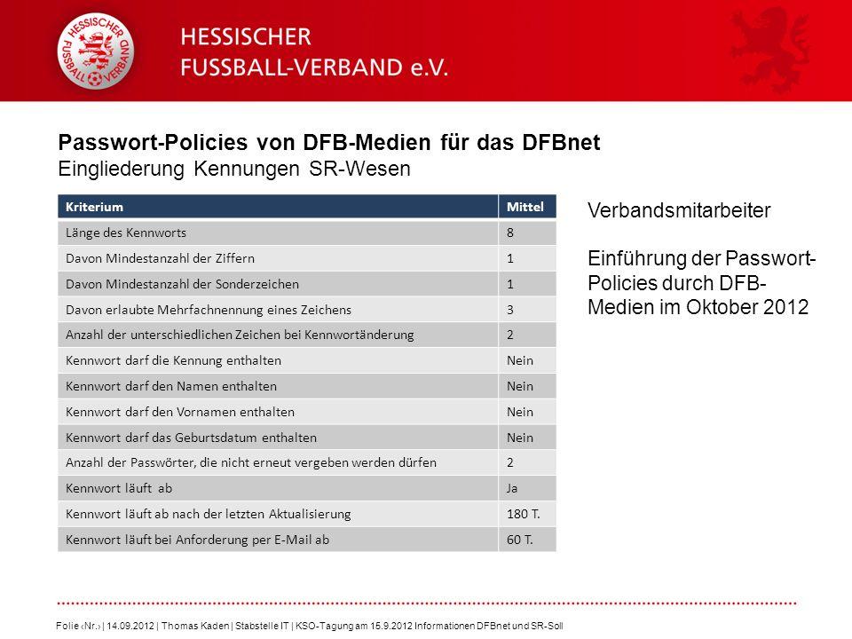 Passwort-Policies von DFB-Medien für das DFBnet Eingliederung Kennungen SR-Wesen