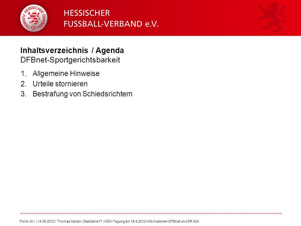 Inhaltsverzeichnis / Agenda DFBnet-Sportgerichtsbarkeit