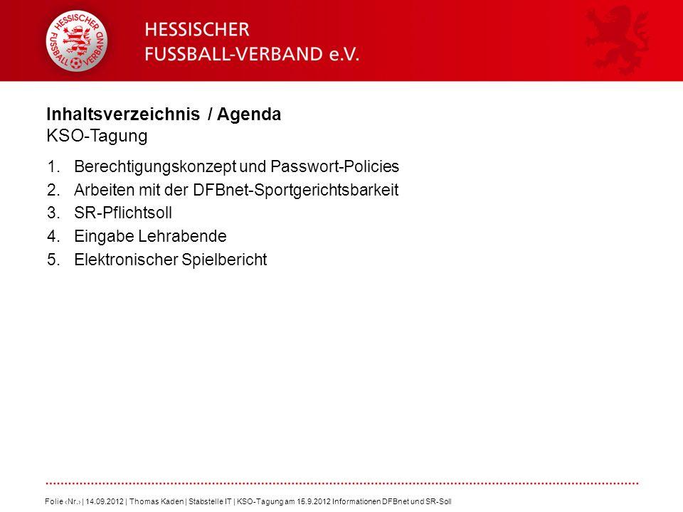 Inhaltsverzeichnis / Agenda KSO-Tagung