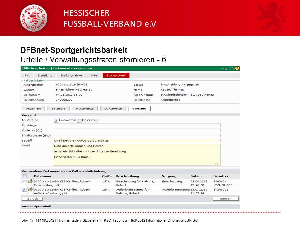 DFBnet-Sportgerichtsbarkeit Urteile / Verwaltungsstrafen stornieren - 6