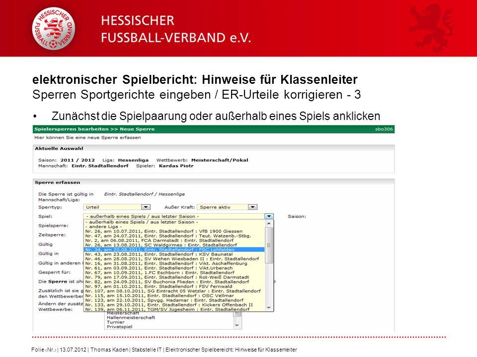 elektronischer Spielbericht: Hinweise für Klassenleiter Sperren Sportgerichte eingeben / ER-Urteile korrigieren - 3