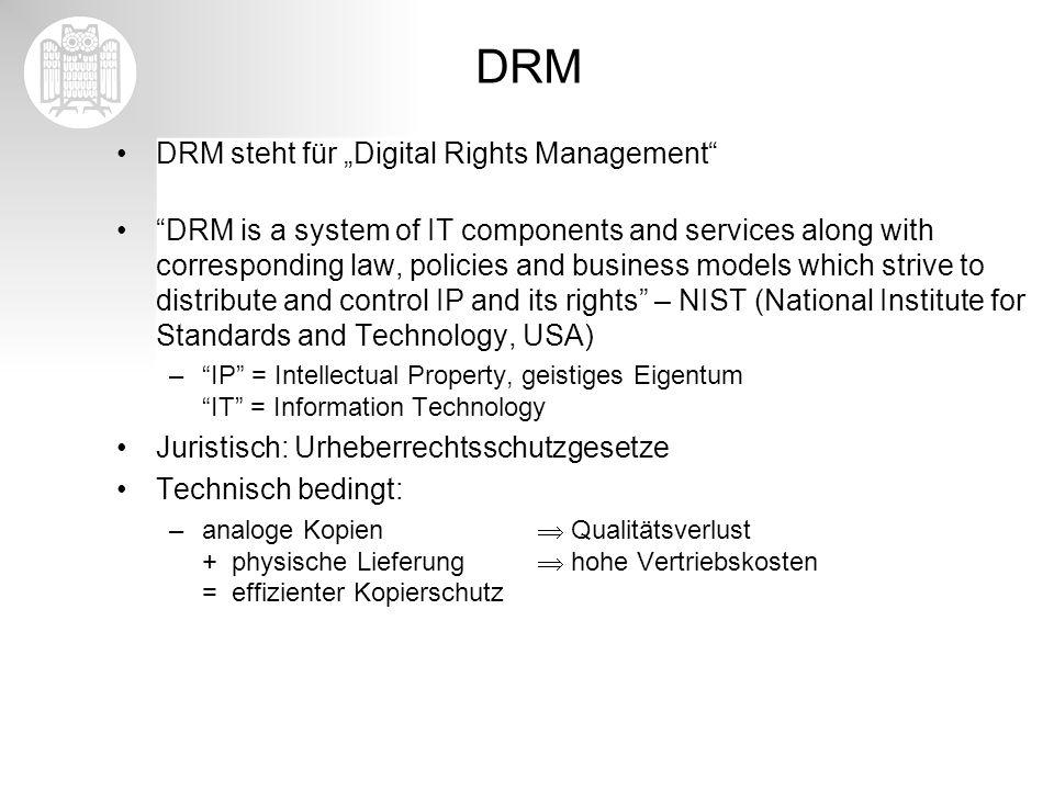"""DRM DRM steht für """"Digital Rights Management"""