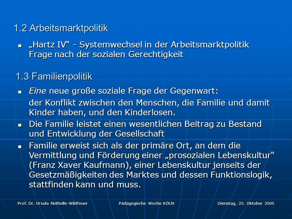 1.2 Arbeitsmarktpolitik 1.3 Familienpolitik