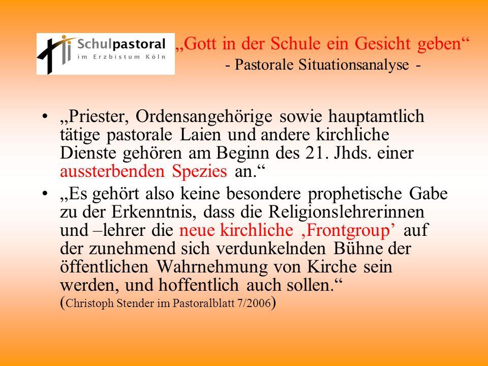 """""""Gott in der Schule ein Gesicht geben - Pastorale Situationsanalyse -"""