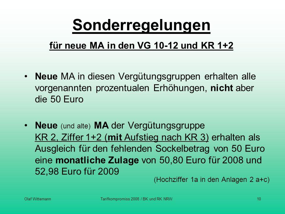 Sonderregelungen für neue MA in den VG 10-12 und KR 1+2