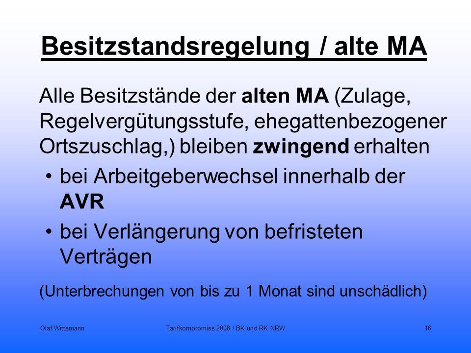 Besitzstandsregelung / alte MA