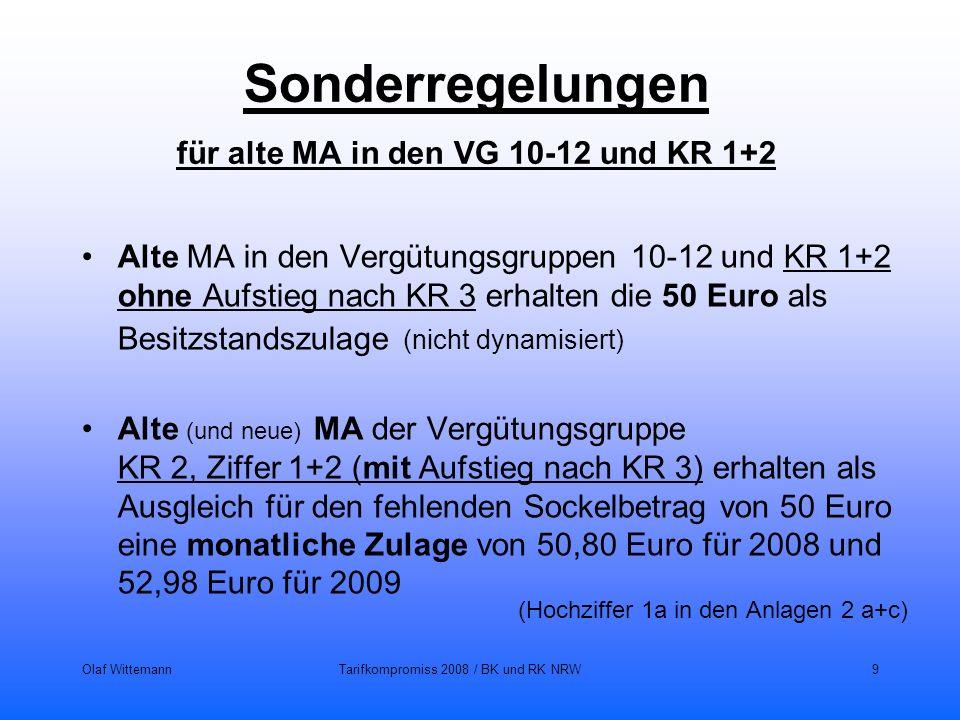 Sonderregelungen für alte MA in den VG 10-12 und KR 1+2