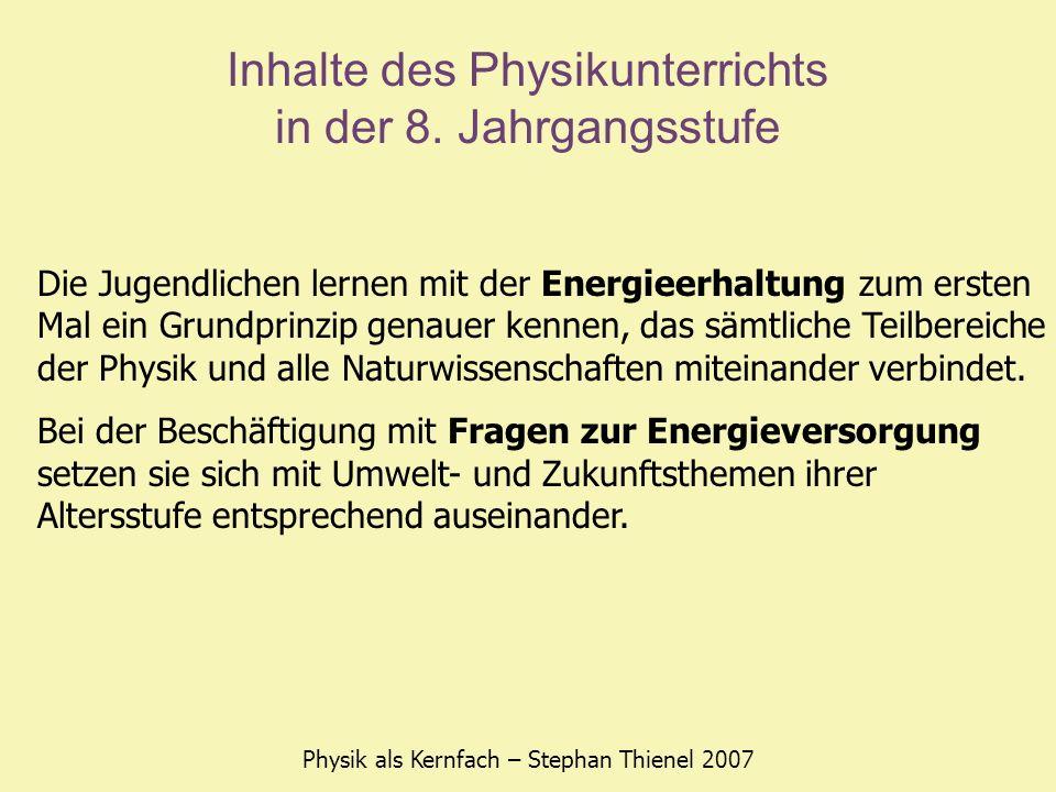 Inhalte des Physikunterrichts in der 8. Jahrgangsstufe