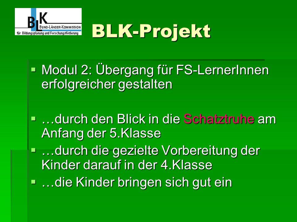 BLK-Projekt Modul 2: Übergang für FS-LernerInnen erfolgreicher gestalten. …durch den Blick in die Schatztruhe am Anfang der 5.Klasse.