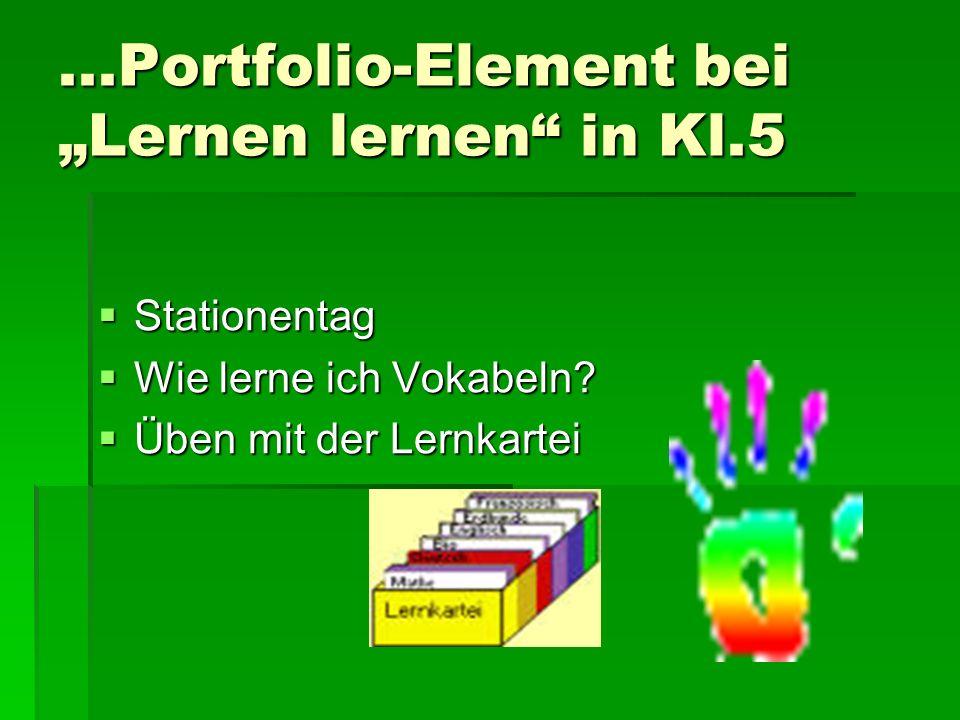 """...Portfolio-Element bei """"Lernen lernen in Kl.5"""