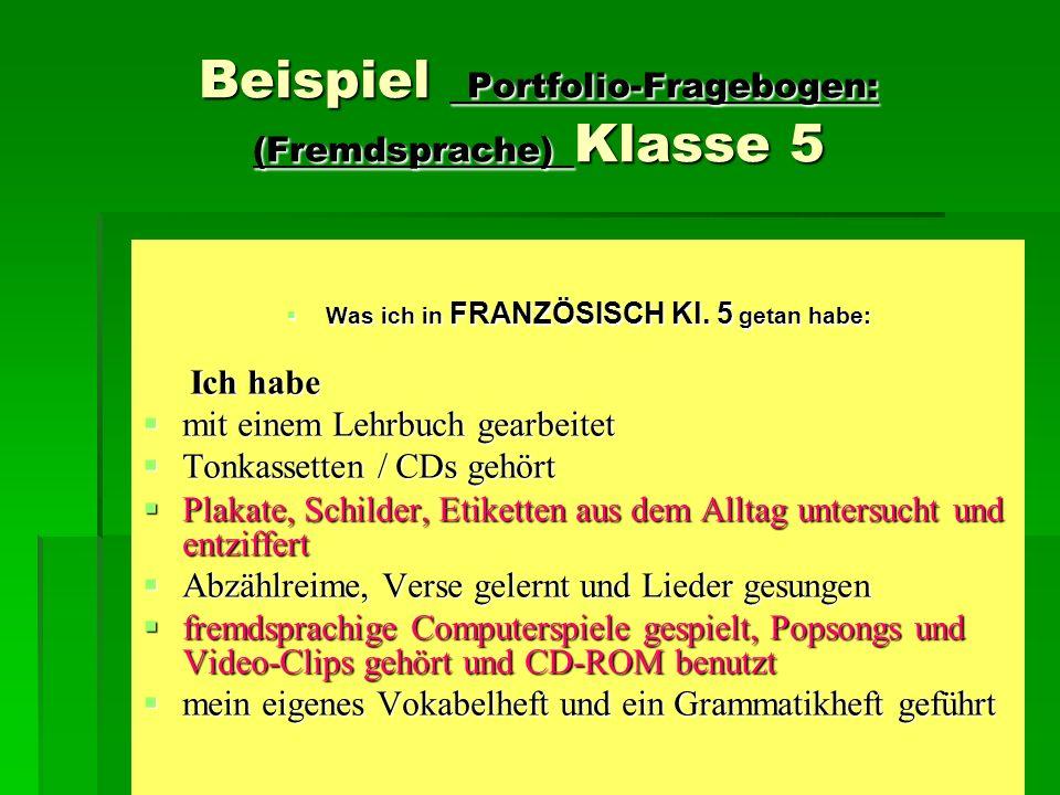 Beispiel Portfolio-Fragebogen: (Fremdsprache) Klasse 5