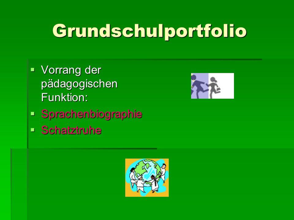 Grundschulportfolio Vorrang der pädagogischen Funktion:
