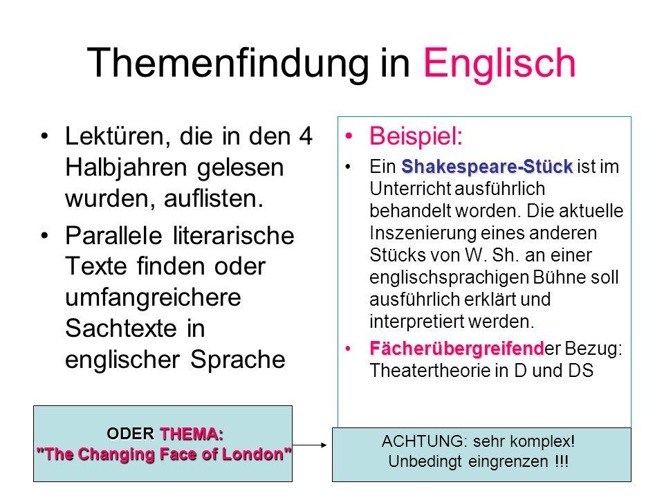 Themenfindung in Englisch