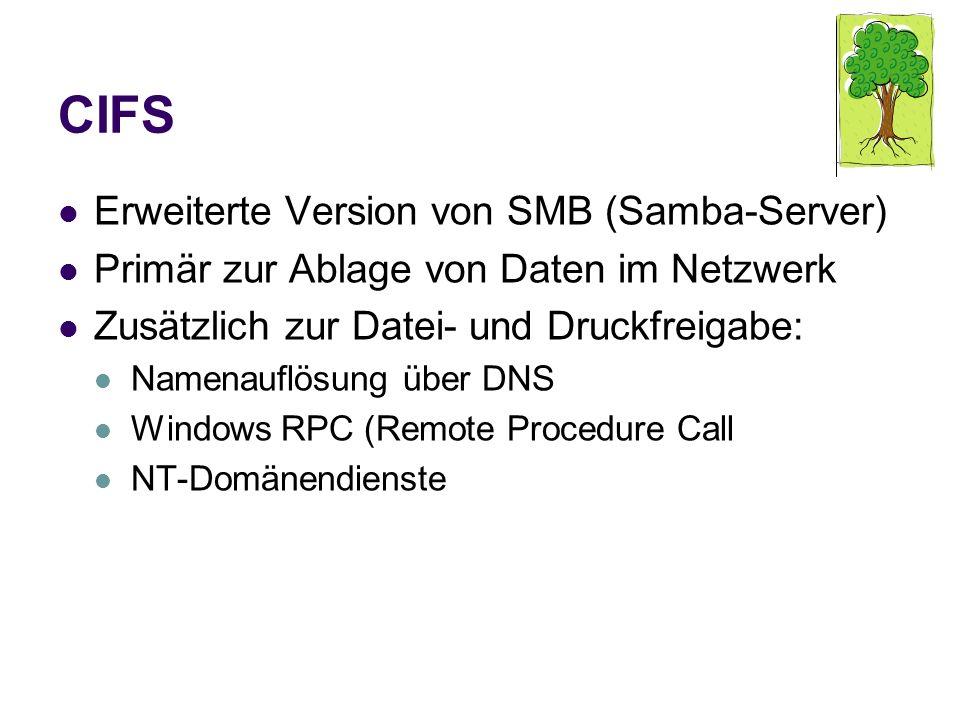 CIFS Erweiterte Version von SMB (Samba-Server)