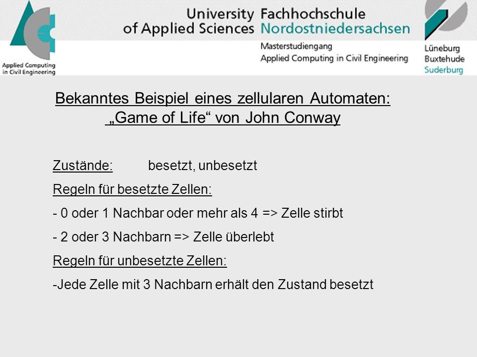 """Bekanntes Beispiel eines zellularen Automaten: """"Game of Life von John Conway"""